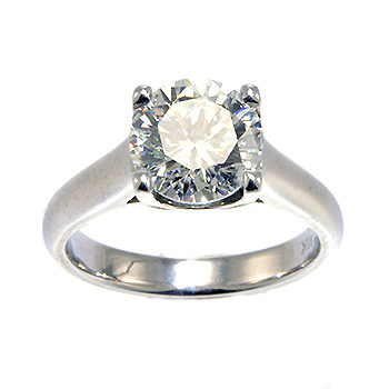 Diamond solitaire engagement ring top view