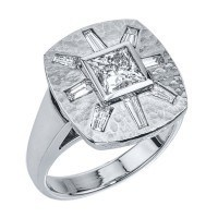 Custom diamond sunburst engagement ring from Adeler Jewlers