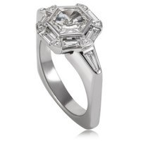 White Gold and Hexagonal Diamond Engagement Ring from Adeler Jewlers