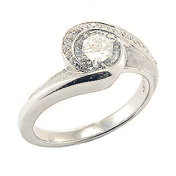 Round bezel set diamond curved engagement ring