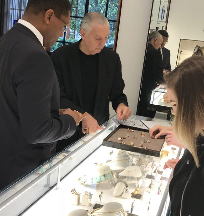 Designer Jorge Adeler displaying his custom jewelry at Forty Five Ten