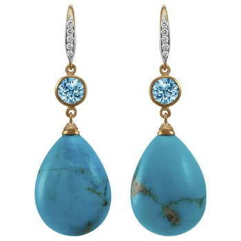 18kt Yellow Gold Turquoise And Blue Topaz Earrings