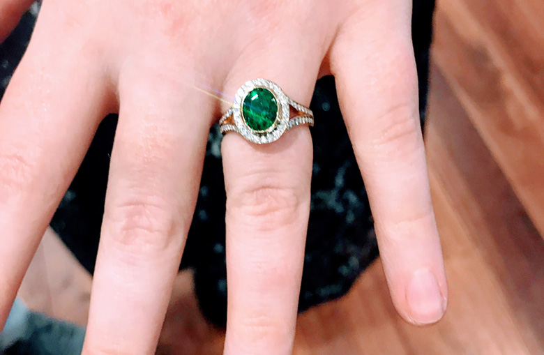 custom emerald engagement ring